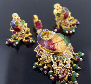22k Solid Gold ELEGANT PEACOCK ENAMEL Pendant Set EARRINGS Antique Design S57