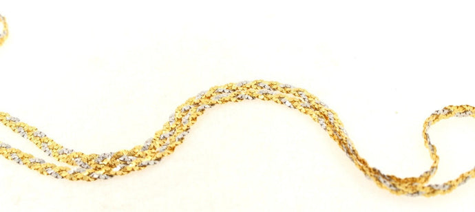 22k Chain Yellow Solid Gold Necklace Two Tone Sand Blast Design 18 inch c726