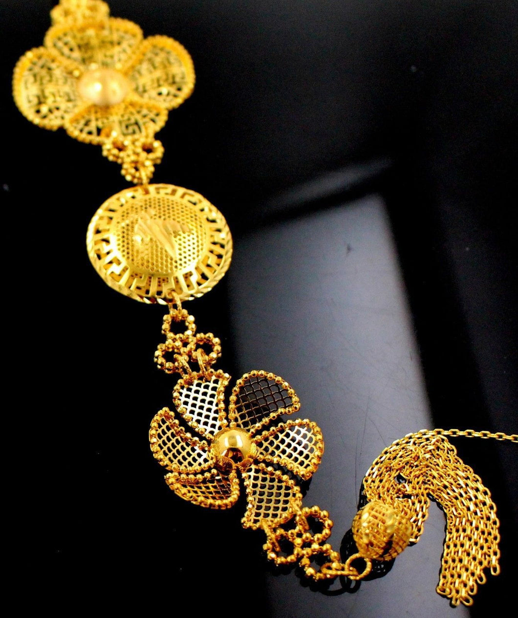 21k 21ct Solid Gold Designer Flower Designer Long Pendent P1322 - Royal Dubai Jewellers