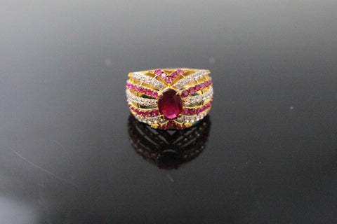"22k 22ct Solid Gold ELEGANT Antique Ladies Stone Ring SIZE 7.0 ""RESIZABLE"" r1533"