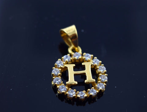 22k Jewelry Solid Gold Round Shape Pendent H letter Modern Design ph6