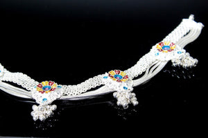 2PC HANDMADE Solid Silver Payal 925 sbb49 Sterling adult ladies Anklets | Royal Dubai Jewellers