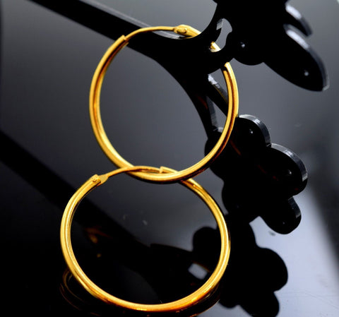 22k Solid Gold ELEGANT LARGE HOOP EARRINGS MODERN DESIGN E731