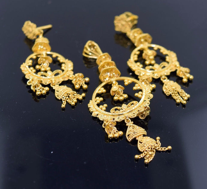 22k Solid Gold ELEGANT ANTIQUE DESIGN Pendant Set EARRINGS S67
