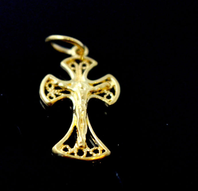 22k 22ct Solid Gold Christian Cross Pendant Charm Locket p1270