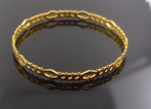 22k Solid Gold ELEGANT WOMEN BANGLE BRACELET ANTIQUE DESIGN Size 2.5 inch B312 | Royal Dubai Jewellers