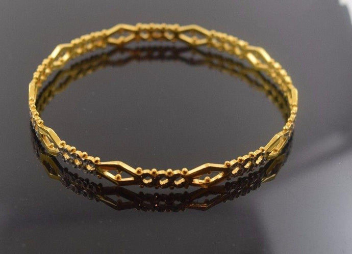 22k Solid Gold ELEGANT WOMEN BANGLE BRACELET ANTIQUE DESIGN Size 2.5 inch B312