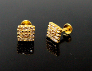 22k 22ct Solid Gold ELEGANT Square EARRING Simple Stones Floral Design E5590