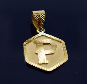 22k Solid Gold Octagon Shape Pendent P letter pp2 | Royal Dubai Jewellers