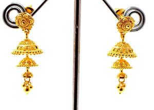 22k 22ct Jewelry Solid Gold ELEGANT LONG JHUMKE DANGLING Earring e5806