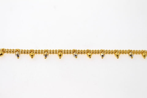 22k 22ct Solid Gold ELEGANT Ladies ANKLET PLAIN FLAT Ball CHARM c841 | Royal Dubai Jewellers