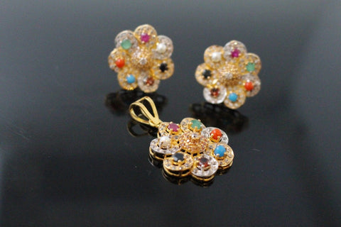 22k 22ct Solid Gold ELEGANT PENDANT SET Natural Muti Stone Floral Design p1308