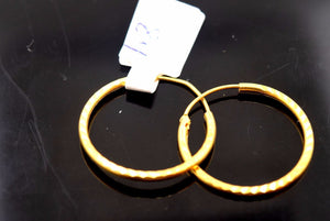 22k Solid Gold Diamond cut Hoop Earring .75 inch e746
