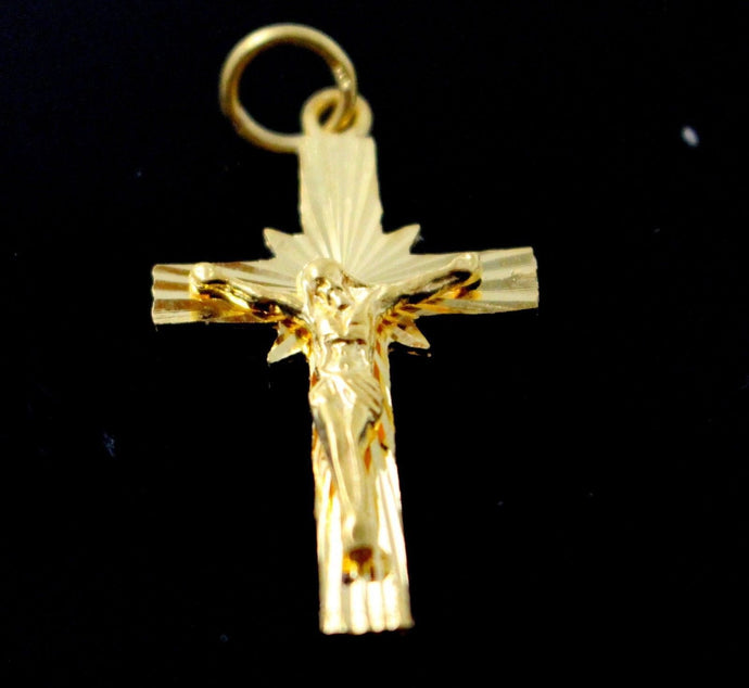 22k 22ct Solid Gold Christian Cross Pendant Charm Locket p1267