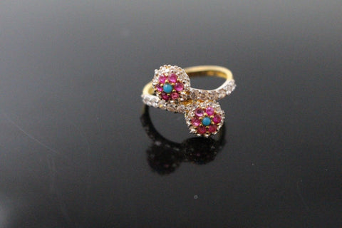 "22k 22ct Solid Gold ELEGANT Antique Ladies Stone Ring SIZE 6.0 ""RESIZABLE"" r1557 - Royal Dubai Jewellers"