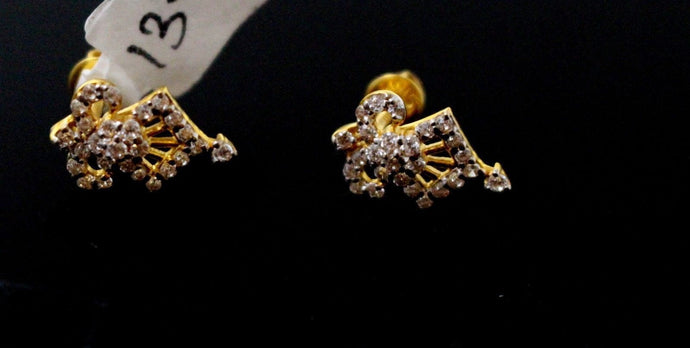 22k 22ct Solid Gold ELEGANT TINY STONE STUD EARRING Diamond Cut e5859