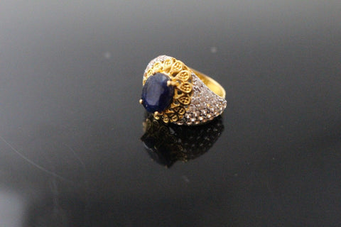 "22k 22ct Solid Gold ELEGANT Antique Ladies Stone Ring SIZE 5.0 ""RESIZABLE"" r1533"