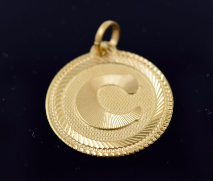 22k Solid Gold Round Shape Pendent C letter p313 | Royal Dubai Jewellers