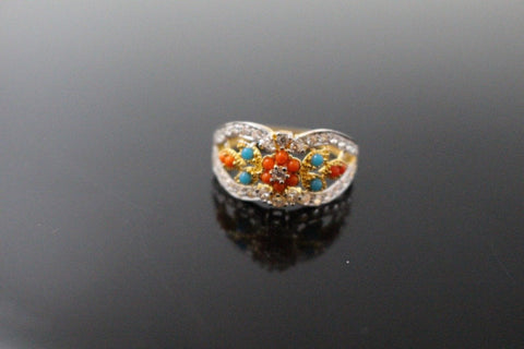 "22k 22ct Solid Gold ELEGANT Antique Ladies Stone Ring SIZE 7.5 ""RESIZABLE"" r1546"