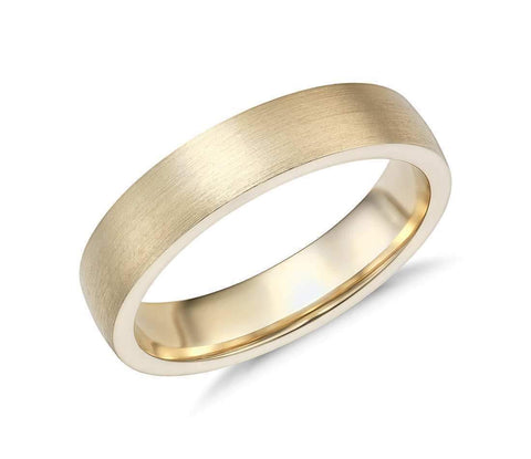 14k Solid Gold Matte Low Dome Comfort Fit Wedding Ring 5mm Custom Size Avaliable | Royal Dubai Jewellers