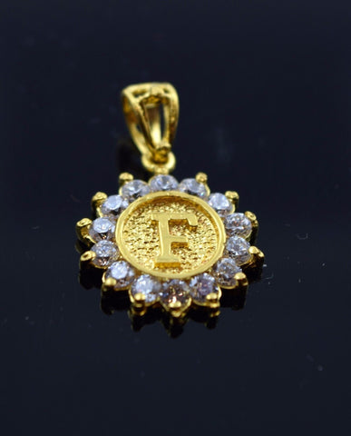 22k Solid Gold Round Shape Pendent F letter pf4