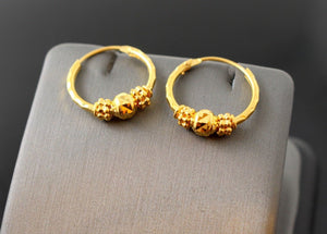 22k Jewelry Solid Gold ELEGANT ROUND SMALL BEADED earrings studs HOOPS e5450