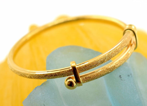 1pc 22k 22ct Solid Gold KIDS BABY Diamond LASER CUT DESIGNER BANGLE BRACELET mf - Royal Dubai Jewellers
