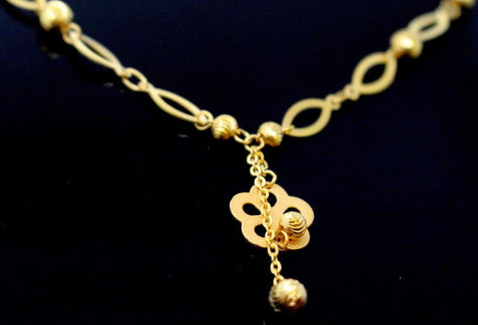 22k Yellow Solid Gold Chain Necklace Classic Charm Design Length 18 inch c882