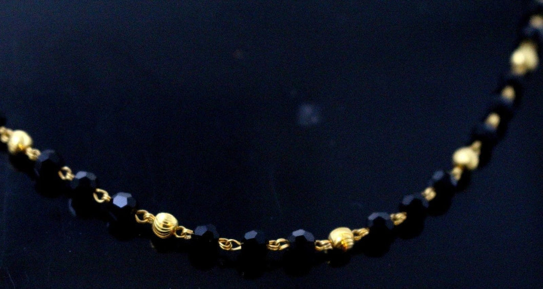 22k Yellow Solid GOLD ELEGANT BLACK BEADS Chain 18 Inch C896