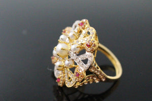"22k 22ct Solid Gold ELEGANT Antique Ladies Stone Ring SIZE 7.0 ""RESIZABLE"" r1525"