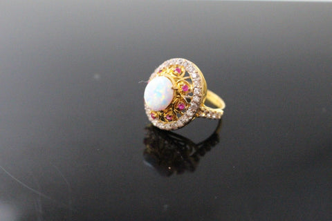 "22k 22ct Solid Gold ELEGANT Antique Ladies Stone Ring SIZE 5.0 ""RESIZABLE"" r1531"