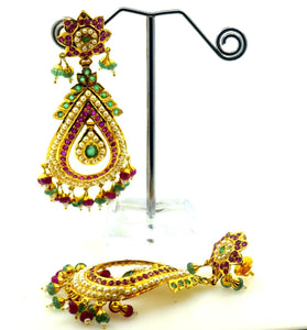 22k Solid Gold ELEGANT LONG EARRING DANGLING WITH PRECIOUS NATURAL STONE E62 | Royal Dubai Jewellers