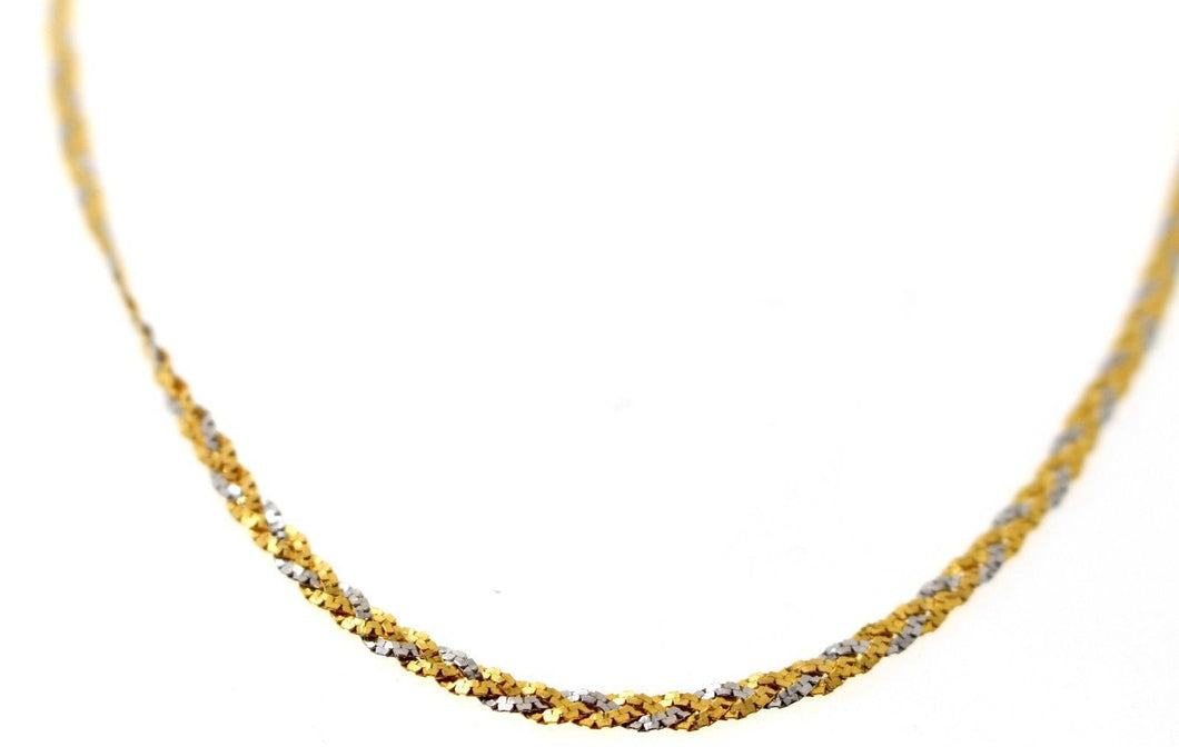 22k 22ct Chain Yellow Solid GORGEOUS Rhodium Braided Necklace Unique 18inch c910