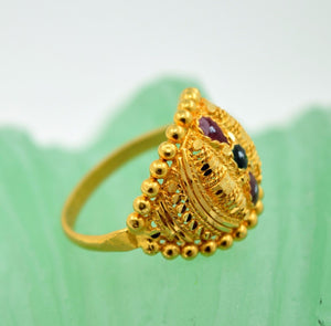 22k 22ct Solid Gold BEAUTIFUL DESIGNER ENAMEL WOMEN Ring RESIZABLE size8.6 r769 | Royal Dubai Jewellers