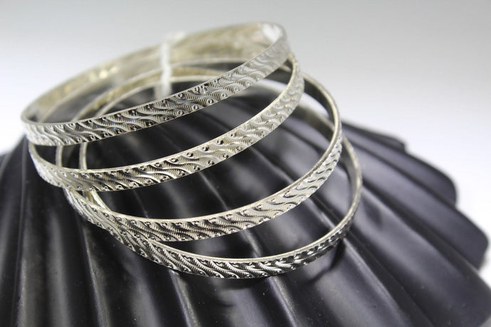 4PC HANDMADE women b126 Solid Sterling Silver 925 size 2.25 inch kara Bangle