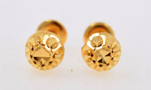 22k 22ct Solid YELLOW GOLD HALF BALL GLIMMER LASER CUT STUD EARRINGS E1241 | Royal Dubai Jewellers