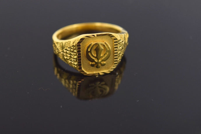 22k Solid Gold ELEGANT band Ring SIKH Religious Design