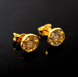 22k 22ct Solid Gold ELEGANT TINY ZIRCONIA ROUND EARRINGS STUDS e5320