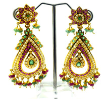 22k Solid Gold ELEGANT LONG EARRING DANGLING WITH PRECIOUS NATURAL STONE E62