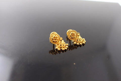 22k 22ct Solid Gold ELEGANT EARRINGS Floral Dangler Design E5062