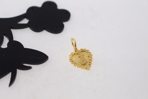 "22k 22ct Solid Gold HEART ""J"" letter Pendant with BOX p800"