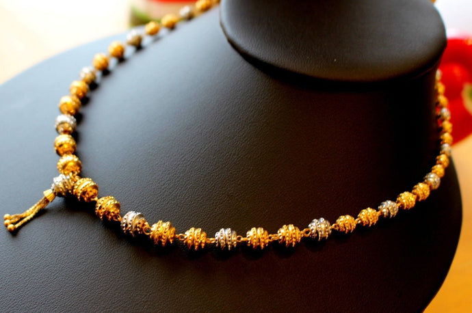 22k Gold Solid Yellow Elegant Chain Two Tone Ball Design Length 26 inch c636