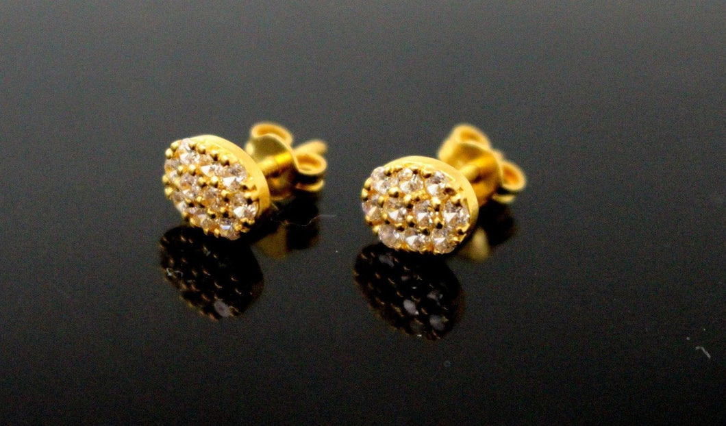 22k 22ct Solid Gold ELEGANT Oval TOPS EARRING Simple Stones Floral Design E5587 | Royal Dubai Jewellers