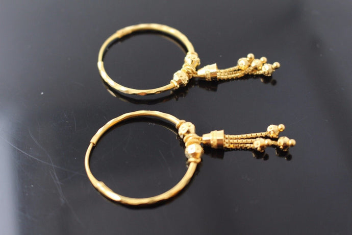 22k 22ct Solid Gold ELEGANT Large Hoops Earring Classic Ball Design e5122