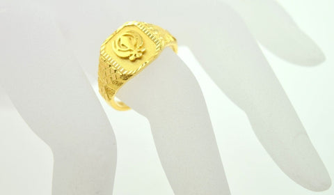 "22k Solid Gold ELEGANT band Ring SIKH Religious Design""RESIZABLE"" R296 