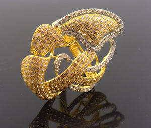 "22k Solid Gold ELEGANT STONE Ring ""RESIZABLE"" MODERN DESIGN R453"