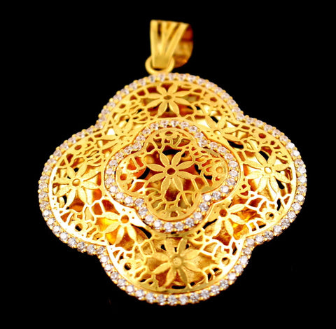 22k 22ct Solid Gold Elegant Antique Design Stunning Stone Pendant p676