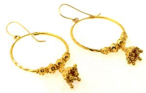 22k 22ct Jewelry Solid Gold ELEGANT LONG JHUMKI DANGLING HOOP Earring e5427 | Royal Dubai Jewellers