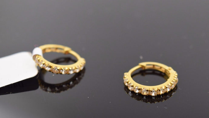 22k 22ct Solid Gold Diamond cut Hoop Earring with elegant box size .5 in mf - Royal Dubai Jewellers