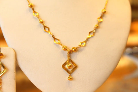 22k 22ct Solid Gold Simple Light Chain Set Diamond Shape Modern Design cs121
